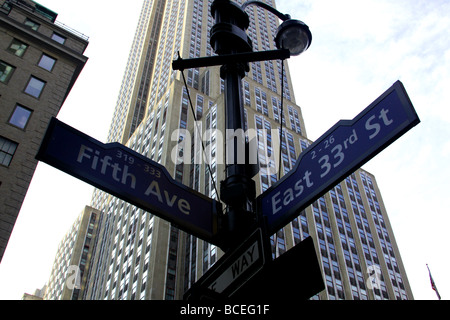 Fifth Avenue at the junction with East 33rd Street with the Empire State Building in the background. - Stock Photo
