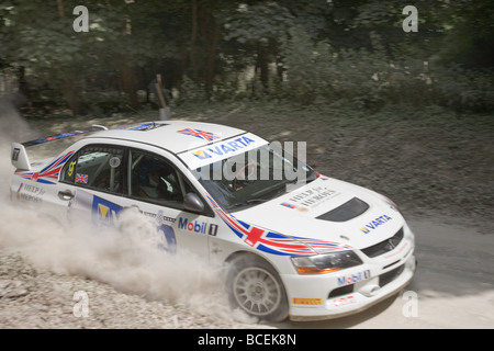 Rally car at the Goodwood Festival of Speed 2009 motion blur - Stock Photo