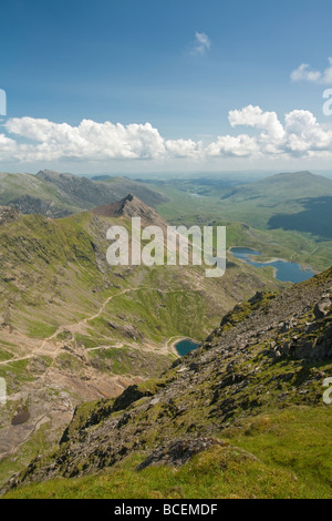 View from the ridge leading to the summit of Snowdon looking down the Afon Glaslyn valley along Crib Goch, Snowdonia - Stock Photo
