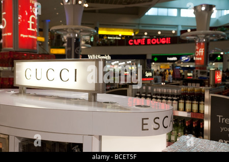 Duty Free shops and signs, North Terminal, Gatwick airport, UK - Stock Photo