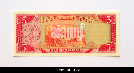Liberia 5 Five Dollar Banknote. - Stock Photo