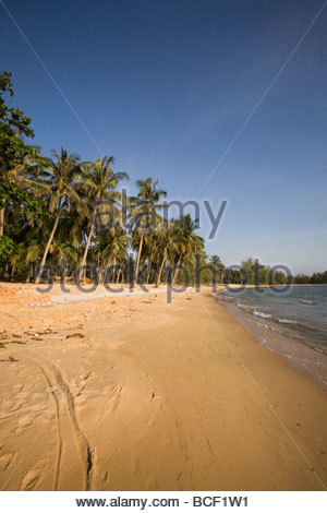 Quiet Ong Lang Beach is unspoiled by Mango Bay Resort. - Stock Photo