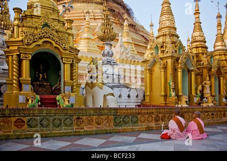 Myanmar, Burma, Yangon. Two young Buddhist nuns pray at the Shwedagon Golden Temple complex. - Stock Photo