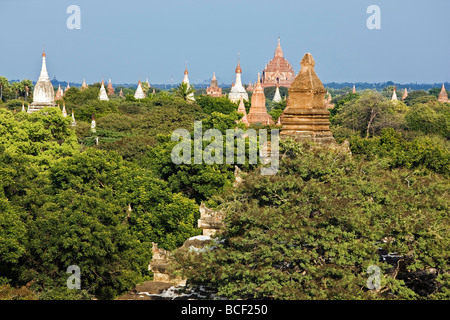 Myanmar. Burma. Bagan. Ancient Buddhist temples on the central plain of Bagan. - Stock Photo