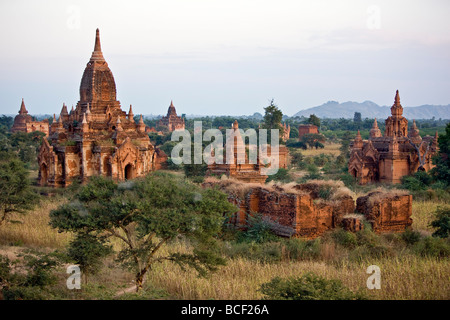 Myanmar. Burma. Bagan. Ancient Buddhist temples on the central plain of Bagan viewed from Tayokpye Temple. - Stock Photo