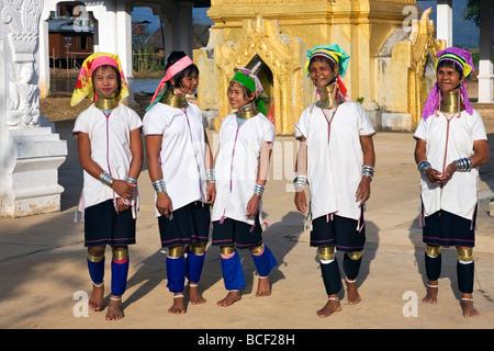 Myanmar, Burma, Lake Inle.  Padaung women wear traditional heavy brass necklaces which elongate their necks - Stock Photo