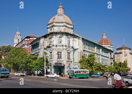 Myanmar, Burma, Yangon. The faded splendour of buildings in Yangon denotes the countrys colonial past under British - Stock Photo