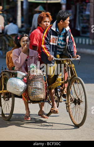 Myanmar, Burma, Rakhine State, Sittwe. A bicycle taxi, known as a trishaw, is an inexpensive means of transport. - Stock Photo