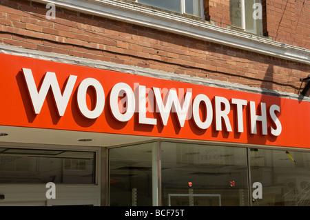 Signage of redundant Woolworths shop store Beverley East Yorkshire England UK United Kingdom GB Great Britain - Stock Photo
