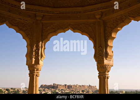 City skyline from Bada Bagh, Jaisalmer, Rajasthan, India - Stock Photo