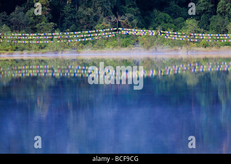 India, Sikkim, Khecheopalri Lake,  - Holy lake highly revered by SKikkimese Buddhists - Stock Photo