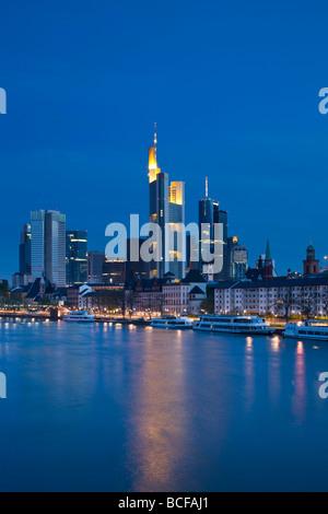 Germany, Hessen, Frankfurt-am-Main, Financial District & Main River - Stock Photo