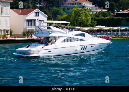 Turkey , Istanbul , Bosphorous or Bogazi , Sunseeker pleasure cruiser , boat or ship enjoying the spring sunshine - Stock Photo