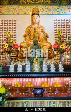 Malaysia, Kuala Lumpur, Thean Hou Temple, Statue of Guanyin (Buddhist Goddess of Mercy) - Stock Photo