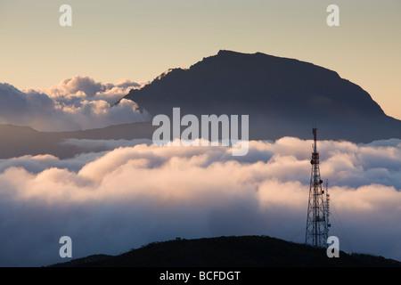 Reunion Island, Bourg Murat, Plaine-des-Cafres, landscape towards the Piton des Neiges - Stock Photo
