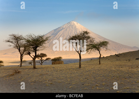 Ol Doinyo Lengai volcano, Lake Natron, Tanzania - Stock Photo