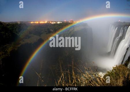 Victoria Falls at night, Zimbabwe/Zambia - Stock Photo