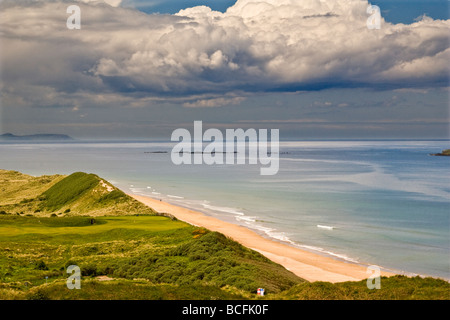 View overlooking Royal Portrush Golf Course towards County Donegal - Stock Photo