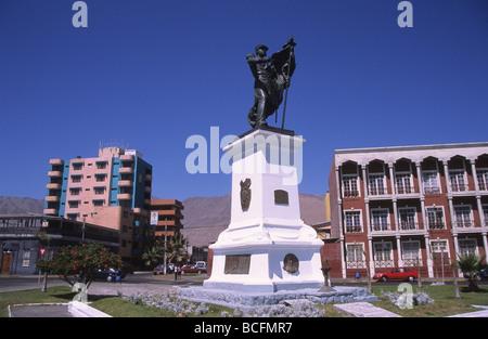 Statue of General Arturo Prat at end of Baquedano Street , Iquique , Chile - Stock Photo