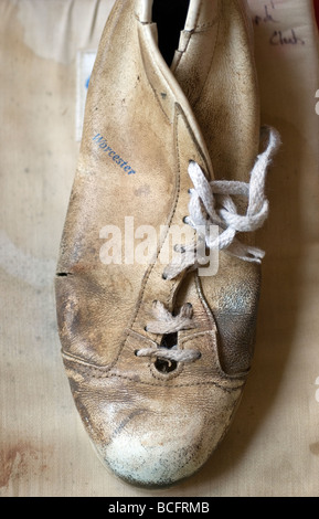 Winnit Worcester split cricket boot with laces,ball, basics, bat, competition, cricket, detail, equipment, essential, - Stock Photo