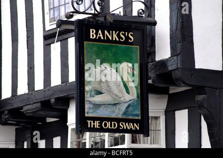 The Old Swan pub sign, Atherstone, Warwickshire, England, UK - Stock Photo