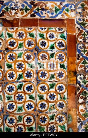 Colourful tiles in the Casa de Pilates in Seville, Spain - Stock Photo