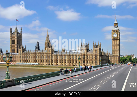 London Westminster Bridge above River Thames with Houses of Parliament waterside façade free of scaffolding Victoria - Stock Photo
