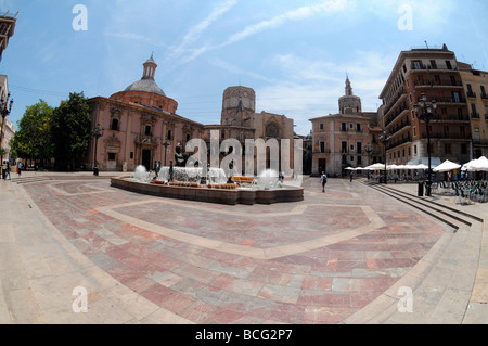 Square Plaza De La Virgen and el Miguelet tower in the old quarter close to Valencia Cathedral, Valencia, Spain