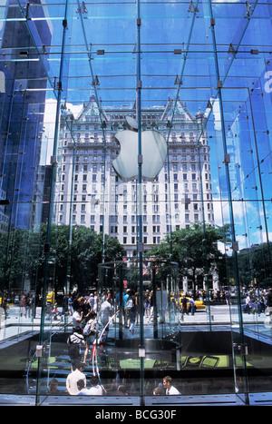 New York City Apple Store Plaza Hotel Fifth Avenue USA - Stock Photo
