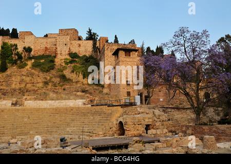 Roman amphitheatre and Alcazaba fortress, Malaga, Andalusia, Spain Stock Phot...