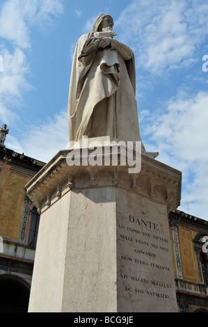 Dante Alighieri's Statue, Piazza dei Signori, Verona, Province of Verona, Veneto, Italy - Stock Photo