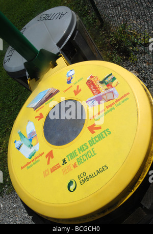 Recycling bin, France - Stock Photo
