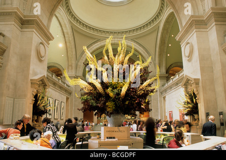 New York City Metropolitan Museum of Art Reception Hall Flower Arrangement Upper East Side Manhattan USA - Stock Photo