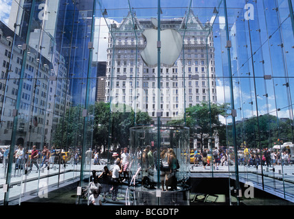 New York City Fifth Avenue Apple Store Plaza Hotel NYC USA - Stock Photo