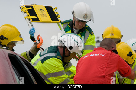 UNITED KINGDOM, ENGLAND. 11th July 2009. Emergency workers take part in a demonstration for the public. - Stock Photo