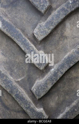 Tractor tyre tread pattern v shapes in rubber moulding - Stock Photo