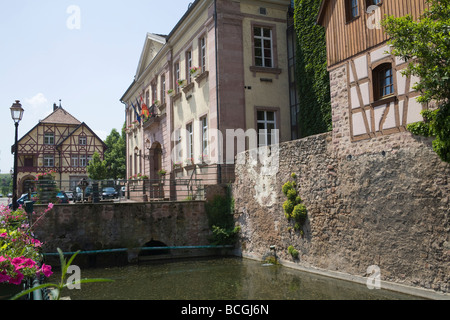 Riquewihr Alsace France EU The Town Hall surrounded by medieval fortifications - Stock Photo