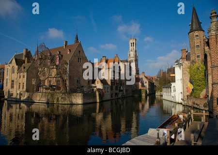 View from the Rozenhoedkaai canal in the Mediaeval city of Bruges in Belgium - Stock Photo