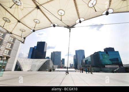 view from La Grande Arche Paris La Défense, France - Stock Photo