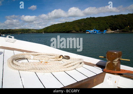 boat detail on river fal trip king harry ferry cornwall - Stock Photo