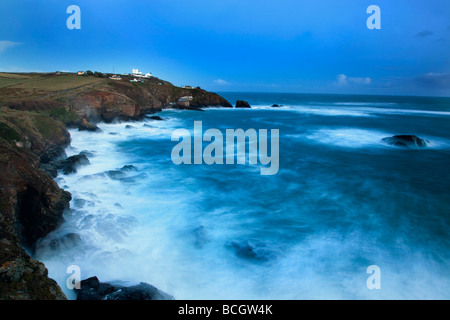 sunset at lizard point cornwall - Stock Photo