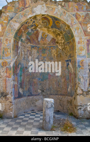 Ruins of Saint Nicholas Chapel with wall paintings dating from the 17th century near Sami on the island of Kefalonia - Stock Photo