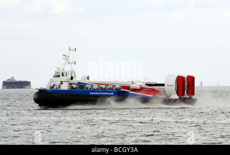Freedom 90 a passenger carrying hovercraft crossing the Solent bound for Southsea England UK Approaching Spitbank - Stock Photo