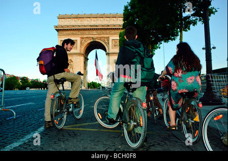 Paris Champs Elysees, France, Bastille Day, 14th of July, French Teenagers on Bicycling, Visiting 'Arc de Triomphe', - Stock Photo