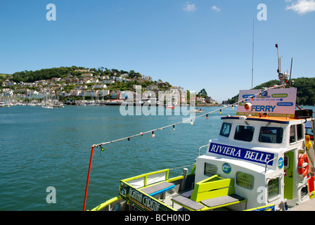 looking towards kingswear from the dartmouth side of the river dart,devon,uk - Stock Photo