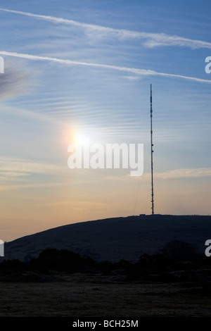 caradon hill tv mast cornwall - Stock Photo
