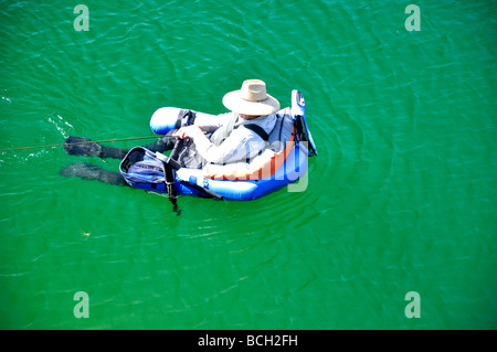 Man Wearing Fins In Swimming Pool Stock Photo Royalty Free Image 48910793 Alamy