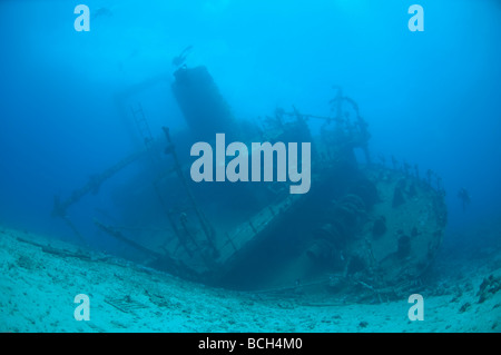 View of the stern superstucture of the Giannis D. a popular scuba diving shipwreck in the Red Sea near Egypt. - Stock Photo