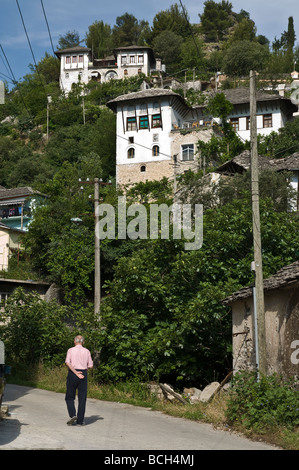 Traditional ottoman period stone roofed houses in the old town of Gjirokastra in southern Albania - Stock Photo