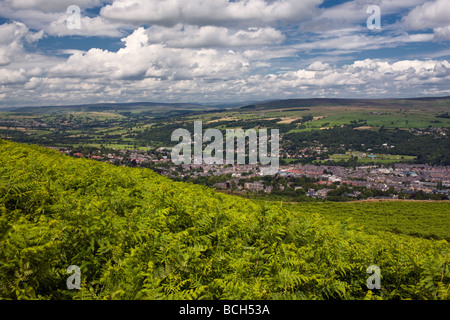 The town of Ilkley from the Moor, Yorkshire UK - Stock Photo